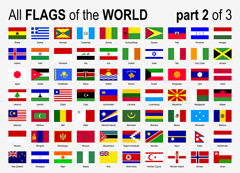 All World National Flags Icon Set - Alphabetically - part 2 of 3 - Vector Illustration