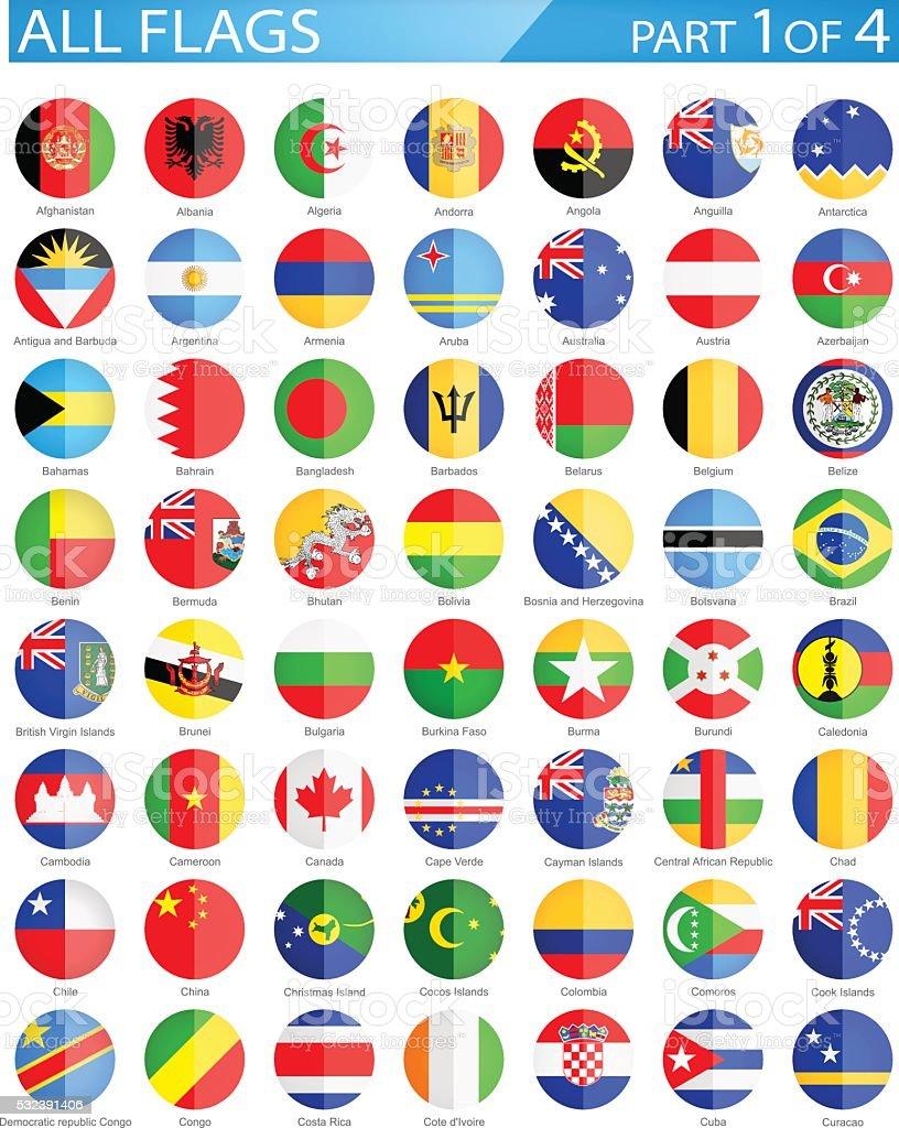 Todo el mundo redondo bandera de iconos PLANA-Ilustración - ilustración de arte vectorial