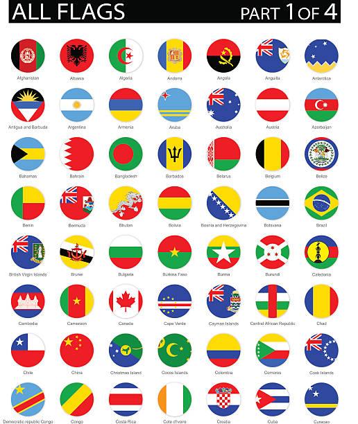 all world round flag flat icons - illustration - 阿爾及利亞 幅插畫檔、美工圖案、卡通及圖標