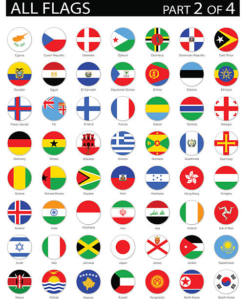 All World Round Flag Flat Icons - Illustration Full Collection of World Flags in Alphabetical Order national flag illustrations stock illustrations
