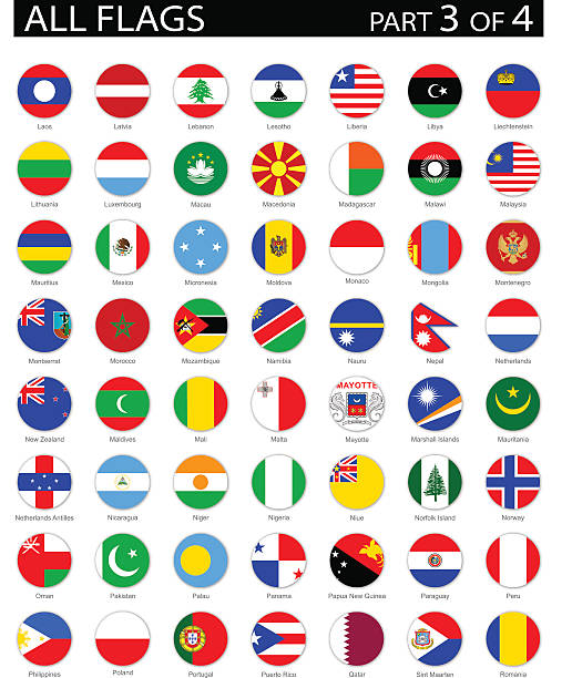 all world round flag flat icons - illustration - polish flag stock illustrations, clip art, cartoons, & icons