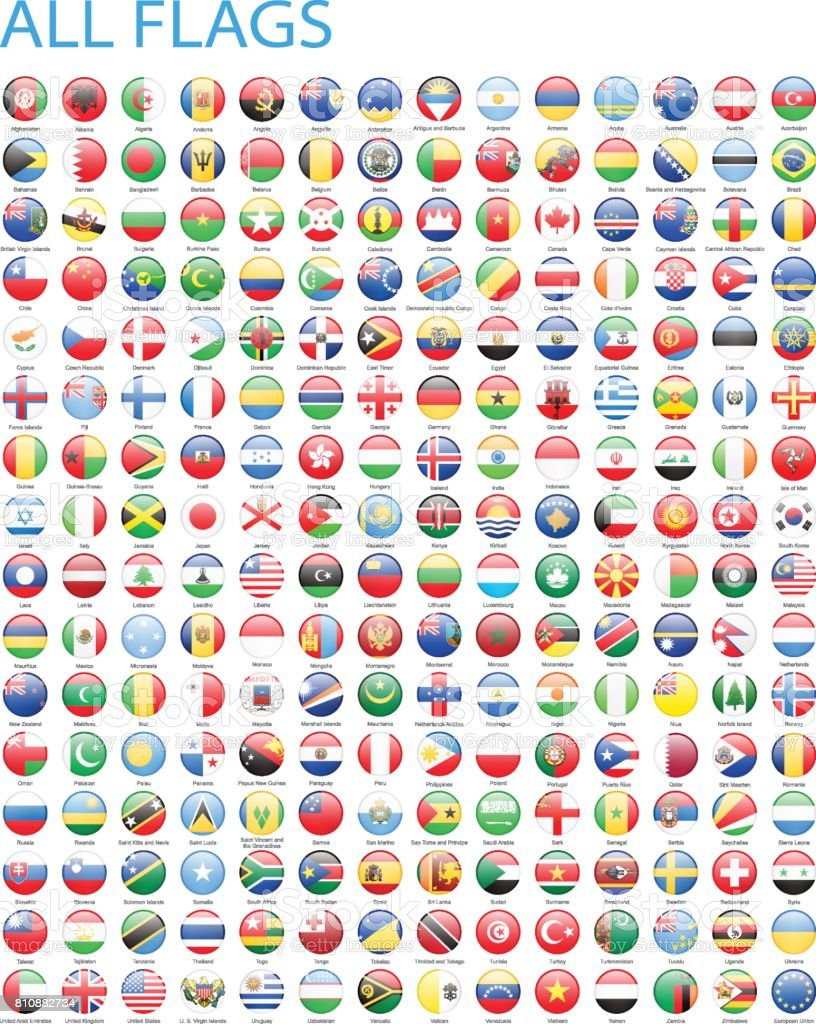 All World Round Flag Icons - Illustration vector art illustration