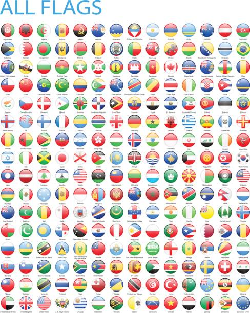 alle welt runde flaggen-icons-illustration - flagge chile stock-grafiken, -clipart, -cartoons und -symbole
