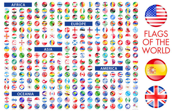 all world round flag icons - флаг stock illustrations