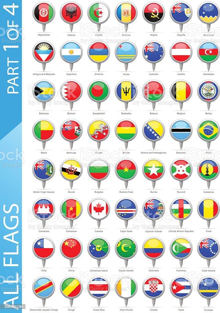 Alle Welt runde Flaggen-Illustration-Pins – Vektorgrafik