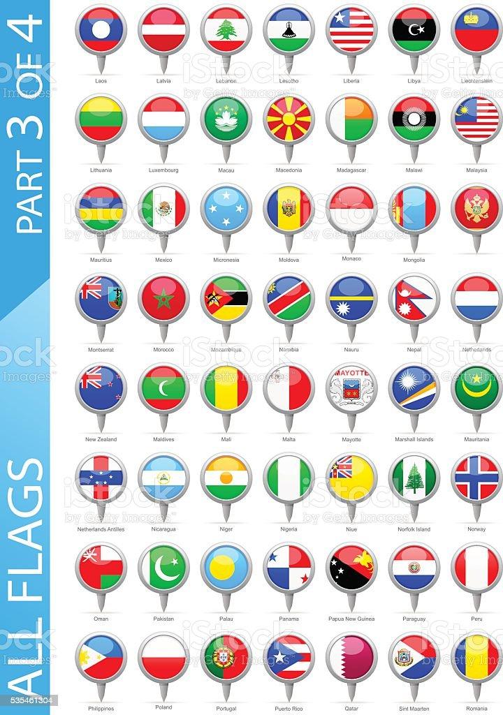 All World Round Flag Pins - Illustration vector art illustration