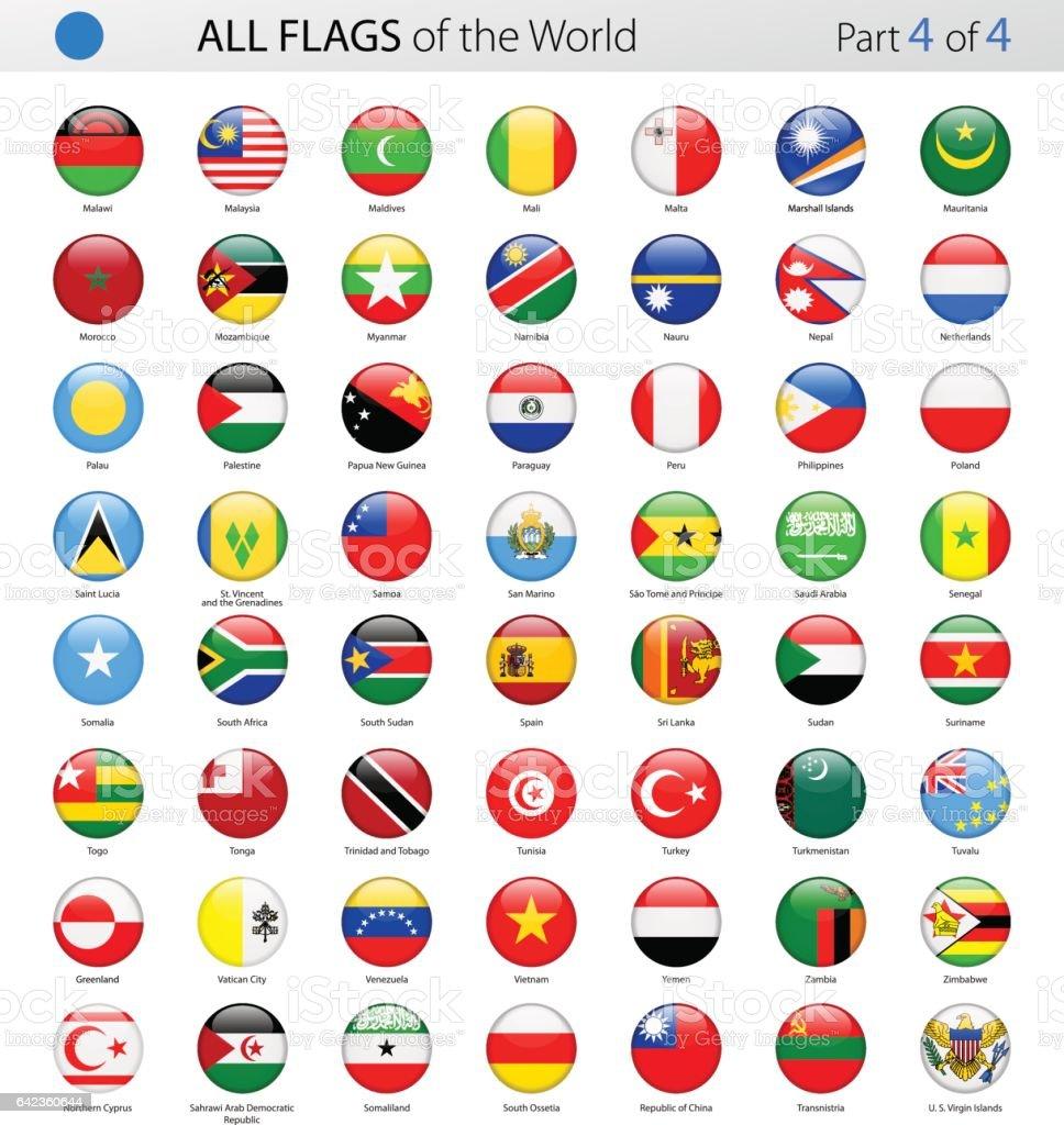 Alle Welt runden glänzenden Vektor Flaggen - Sammlung – Vektorgrafik
