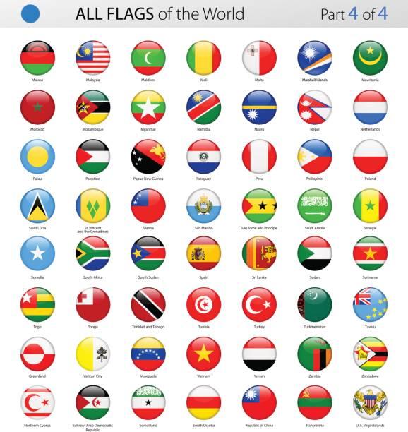Todo mundo Vector brillante redondo banderas - colección - ilustración de arte vectorial