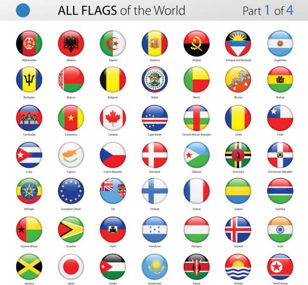 alle welt runden glänzenden vektor flaggen - sammlung - kamerun stock-grafiken, -clipart, -cartoons und -symbole