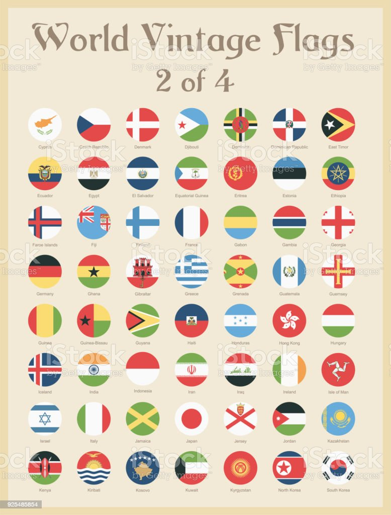 All World Round Vintage Colored Flags - Vector vector art illustration
