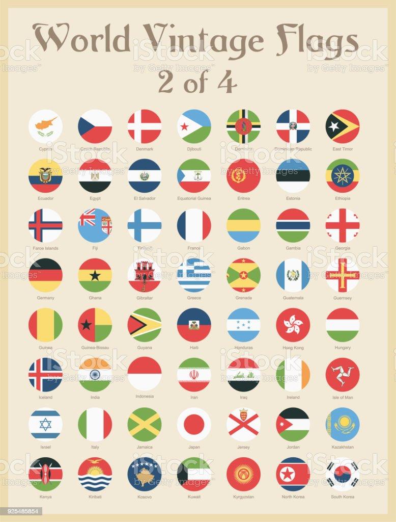 Todo mundo redondas Vintage coloridas bandeiras - vetor - ilustração de arte em vetor
