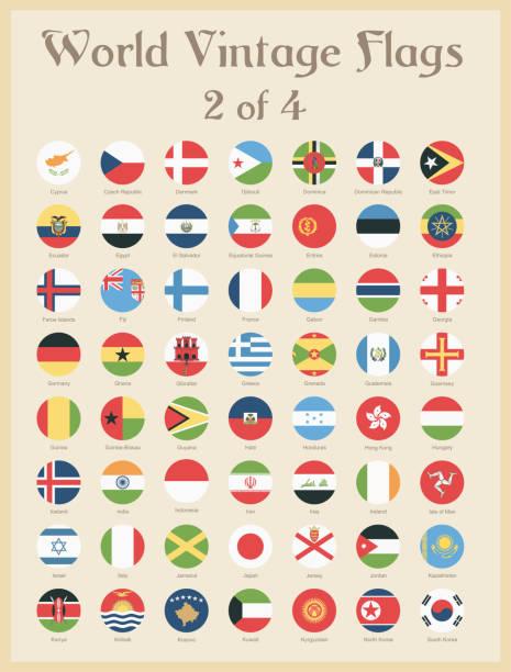 世界すべてラウンド ヴィンテージ色フラグ - ベクトル - 韓国の国旗点のイラスト素材/クリップアート素材/マンガ素材/アイコン素材