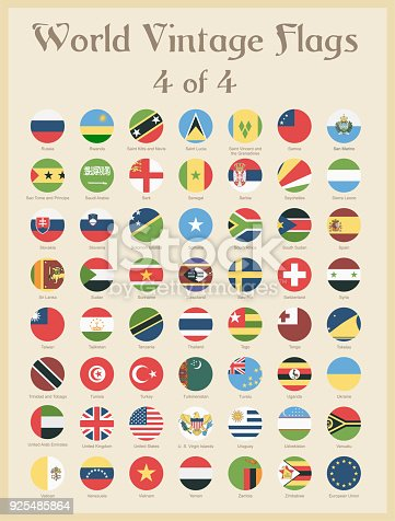 All World Round Vintage Colored Flags - Vector Illustration