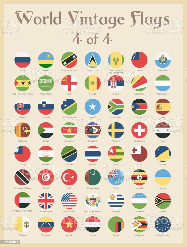 世界すべてラウンド ヴィンテージ色フラグ - ベクトル ベクターアートイラスト