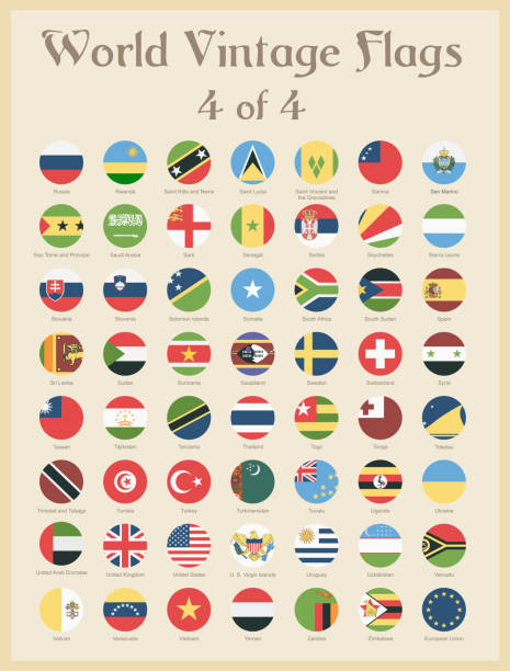 all world round vintage colored flags - vector - thai flag stock illustrations, clip art, cartoons, & icons