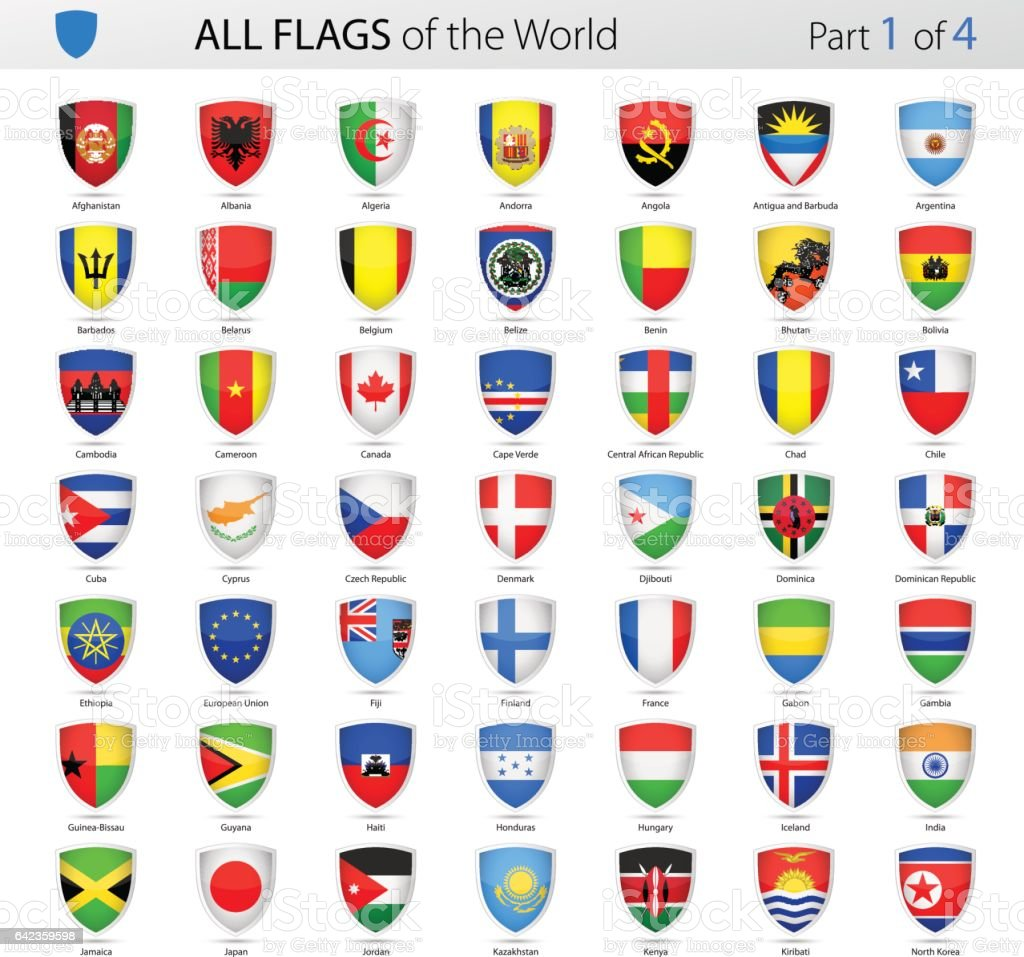 All World Shield Vector Flags - Collection vector art illustration