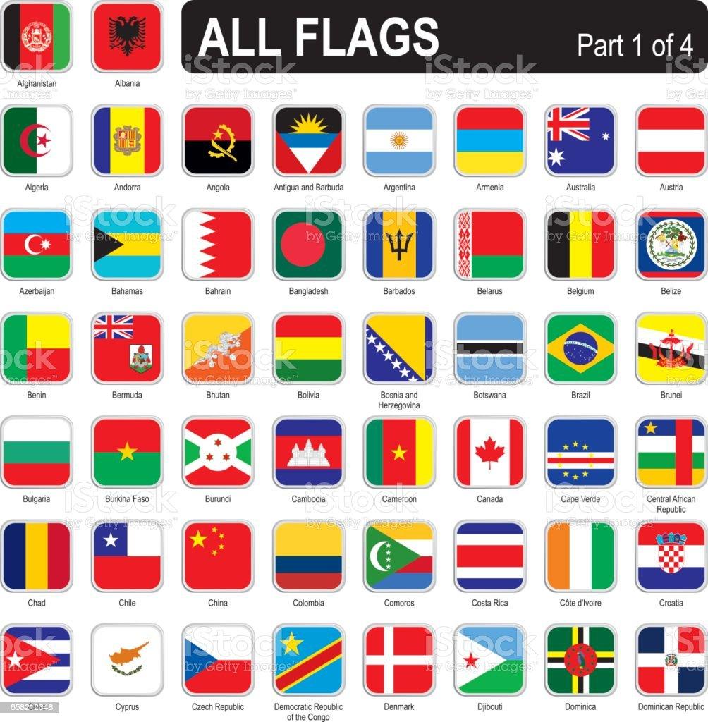 Alle Flaggen Der Weltplatz Stock Vektor Art Und Mehr Bilder Von