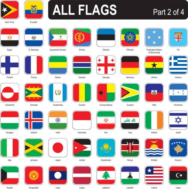 all world square flags - ecuador flag stock illustrations