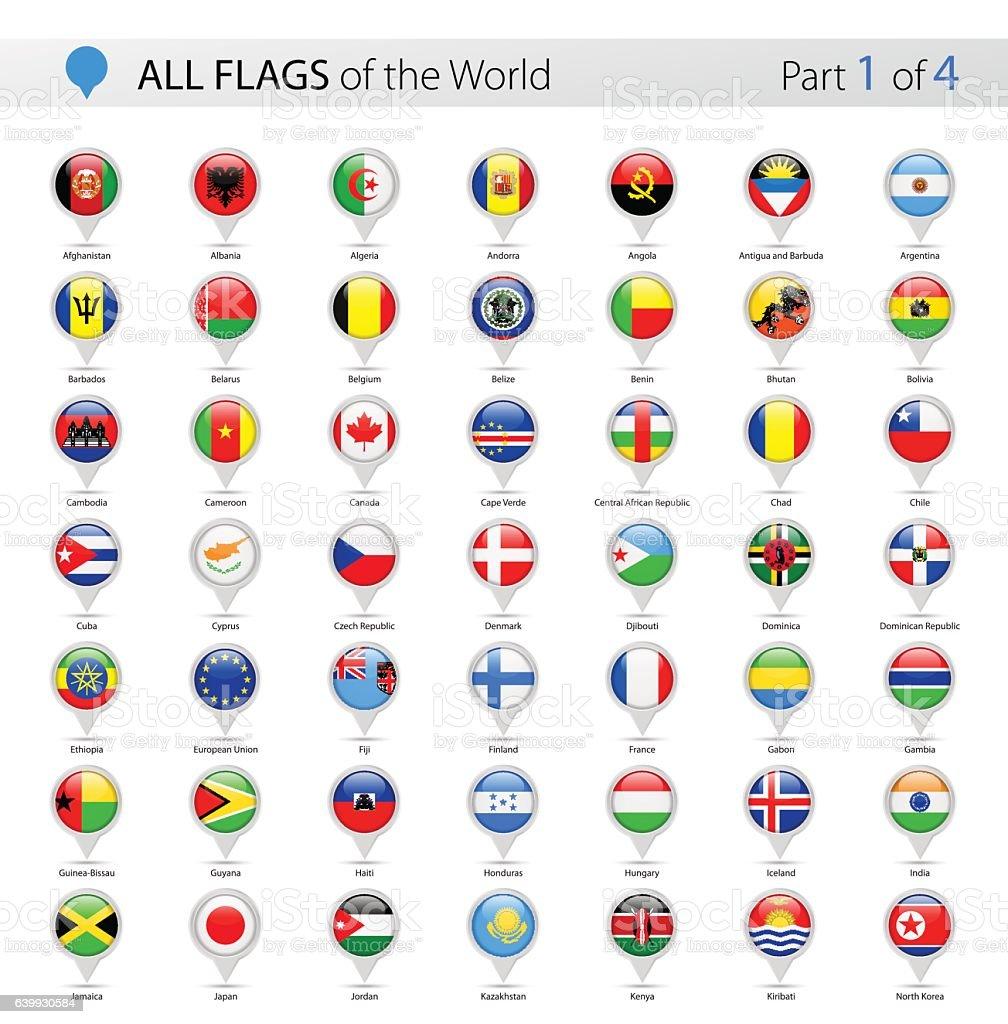 All World Vector Round Flag Pins - Collection - ilustración de arte vectorial