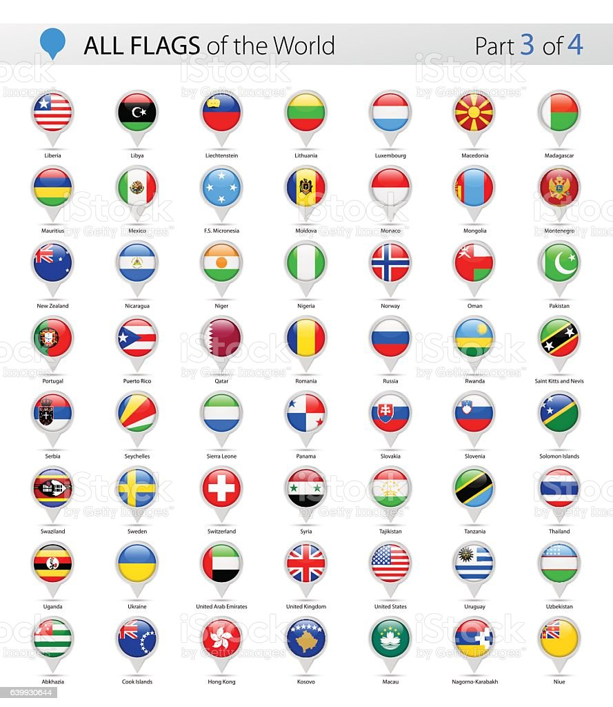All World Vector Round Flag Pins - Collection vector art illustration