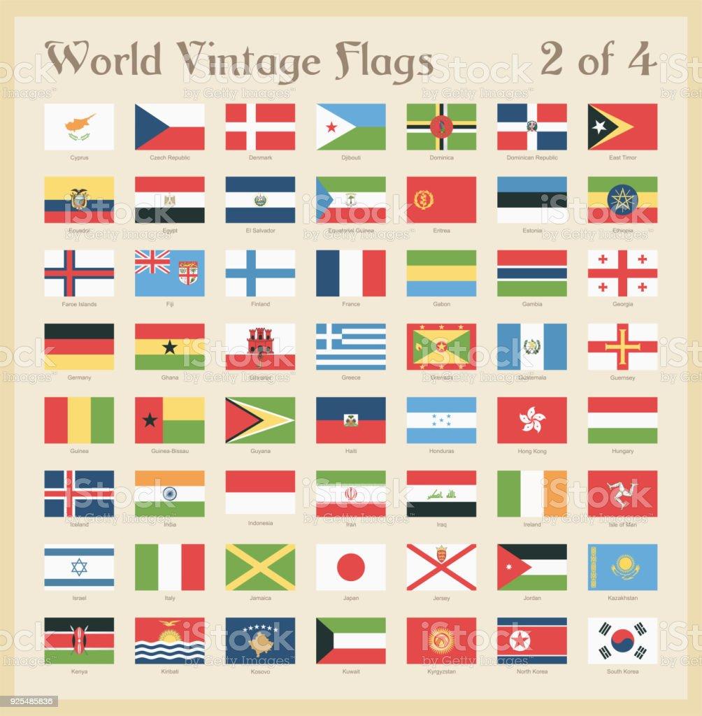 Todo mundo Vintage coloridas bandeiras - vetor - ilustração de arte em vetor