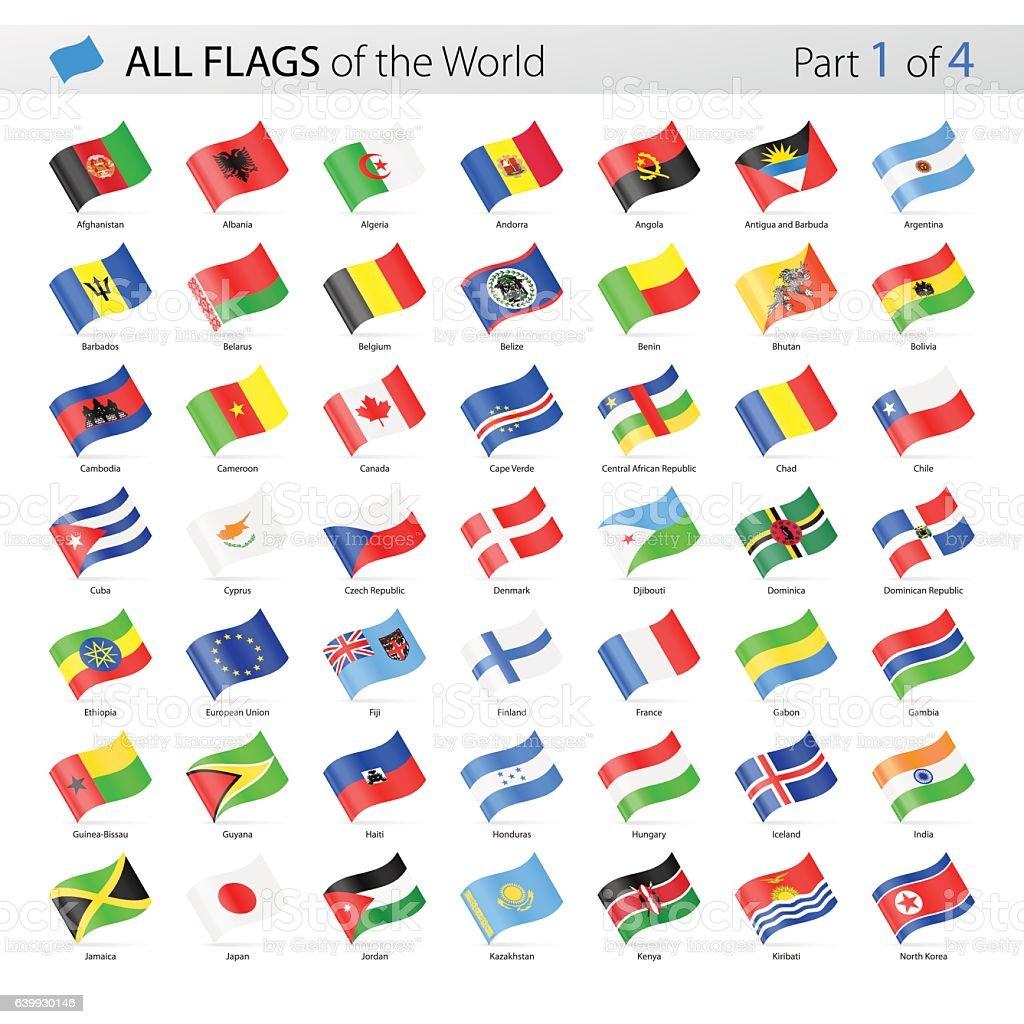 All World Waving Vector Flags - Collection - ilustración de arte vectorial