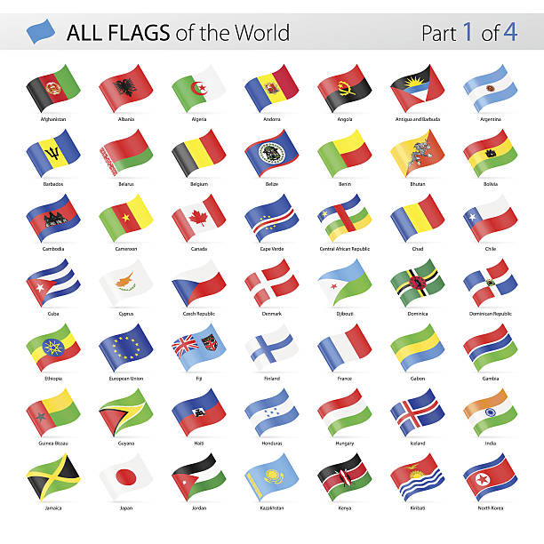 all world waving vector flags - collection - flagge chile stock-grafiken, -clipart, -cartoons und -symbole