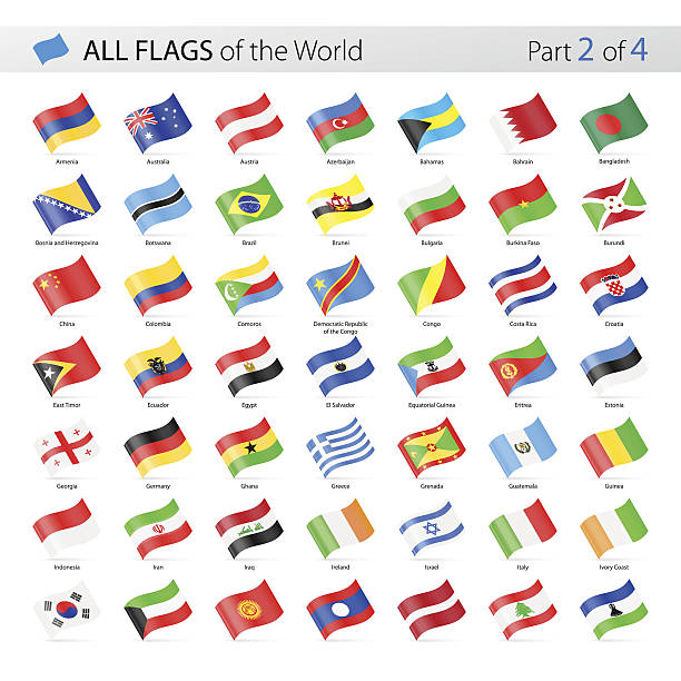 All World Waving Vector Flags - Collection Vector Collection of All World Vector Flags azerbaijan stock illustrations