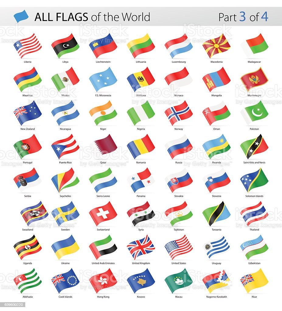 All World Waving Vector Flags - Collection vector art illustration