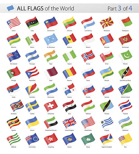 All World Waving Vector Flags - Collection Vector Collection of All World Vector Flags national flag illustrations stock illustrations