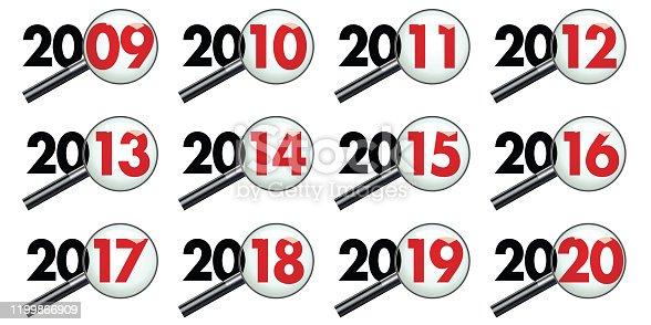 Pictogrammes représentant la décénnie des années 2010 vues au travers d'une loupe pour symboliser le bilan et l'analyse des événements.
