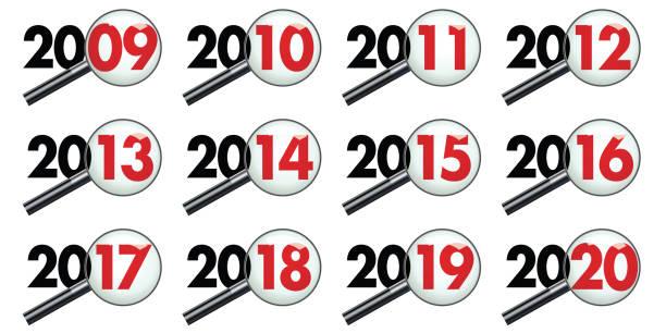 stockillustraties, clipart, cartoons en iconen met alle jaren van een decennium onderzocht onder toezicht, van 2009 tot 2020 - 2010 2019