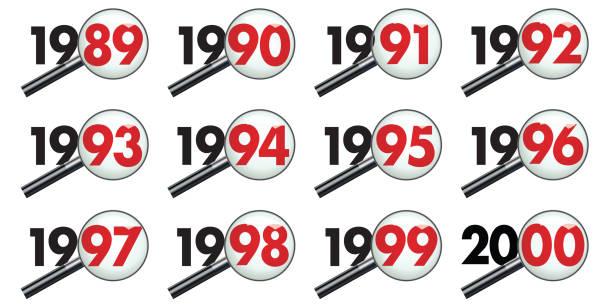 stockillustraties, clipart, cartoons en iconen met alle jaren van een decennium onderzocht onder de microscoop, van 1989 tot het jaar 2000. - 1990 1999
