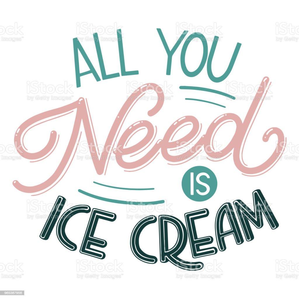 Tout ce dont vous avez besoin est la crème glacée. - clipart vectoriel de Affiche libre de droits