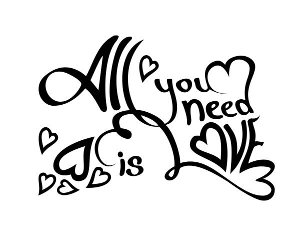 all you need is love black lettering design silhouette isolated on white background - leap year stock illustrations, clip art, cartoons, & icons
