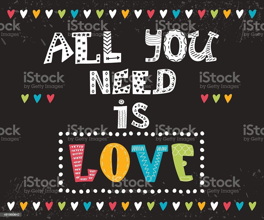 Vetores De Tudo O Que Você Precisa é Amor Mensagem