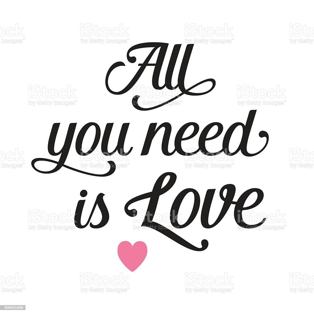 Download Ilustración de All You Need Is Love Lettering With Heart y ...