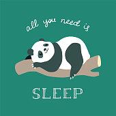 Cute illustration of funny baby panda sleeping on a tree. vector 8 EPS