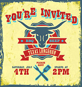 BBQ themed Invitation design on a yellow textured background, See my portfolio for similars.