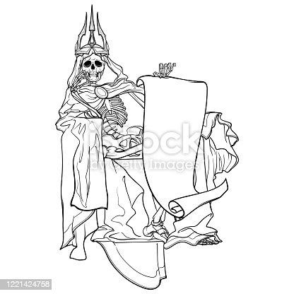 Allegoric painting of the first rider of Apocalyps. Human skeleton wrapped in cloak with hood and a crown sitting on a thron. Black line drawing isolated on white background.