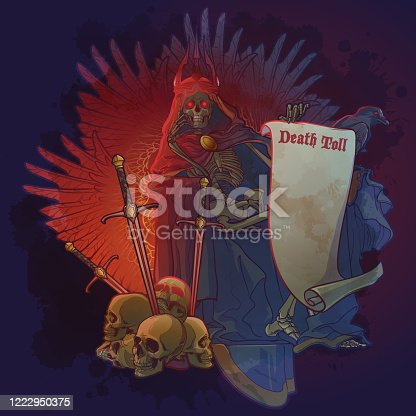 Allegoric painting of war casualties. Human skeleton wrapped in cloak with hood and a crown sitting on a throne. Human skulls with swords stuck. Pergament scroll with a Death Toll sign