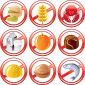 Common allergen products icons with 9 products: