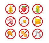Set of ingredient warning icons with common allergens