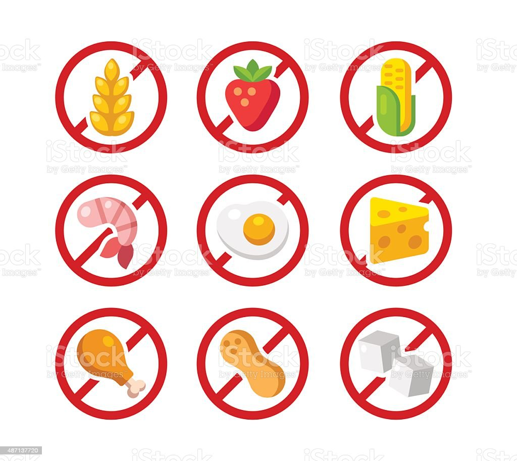Allergen free icons vector art illustration