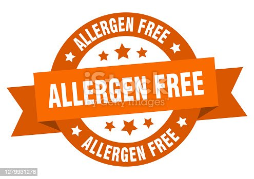 istock allergen free round ribbon isolated label. allergen free sign 1279931278