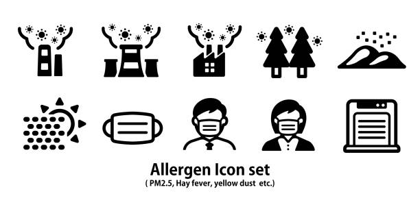 Allergen icon set ( pm2.5, hay fever, yellow dust etc.) Allergen icon set ( pm2.5, hay fever, yellow dust etc.) flower part stock illustrations