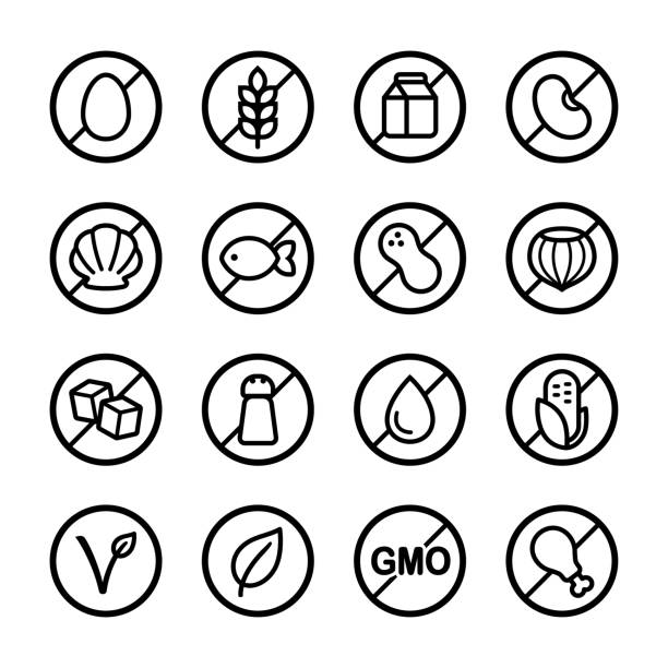 Allergens and diets icon set vector art illustration