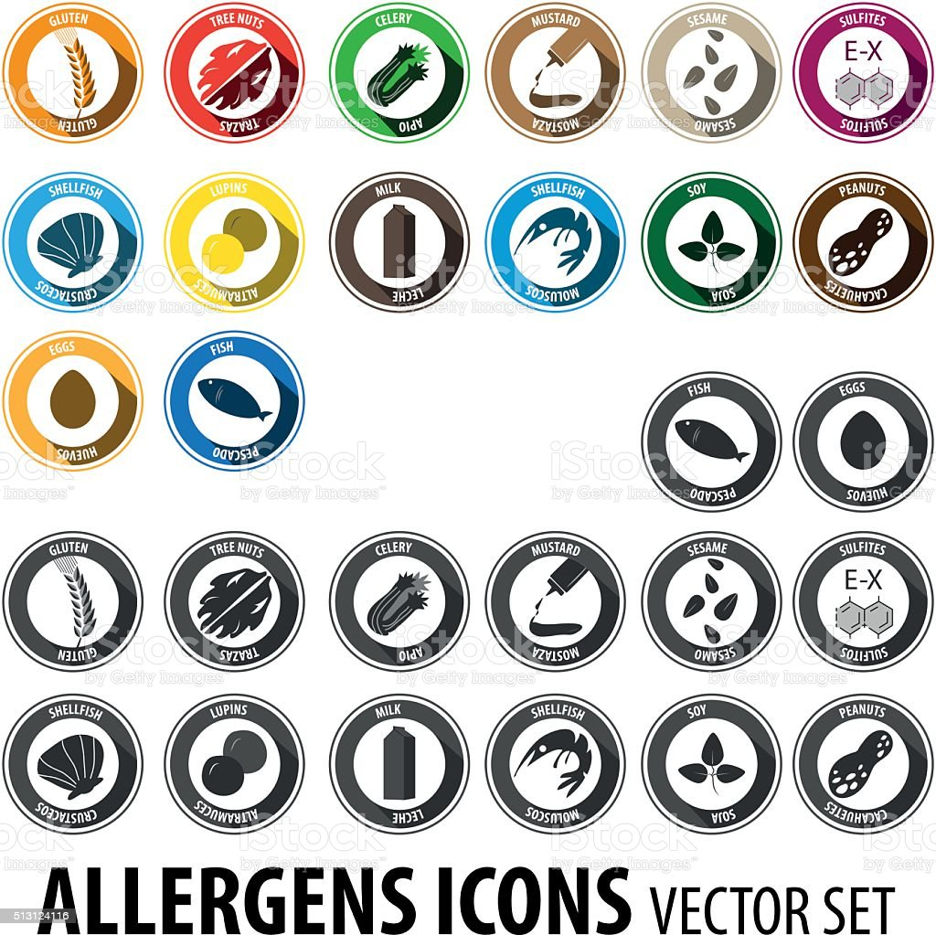 Allergens big set vector art illustration