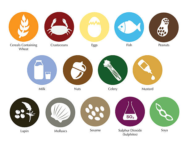 Allergens icon set Allergen information symbols collection, for restaurant menu pollen stock illustrations