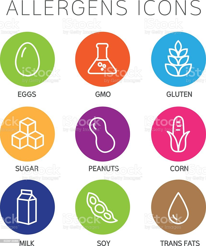Allergens Icons Set vector art illustration